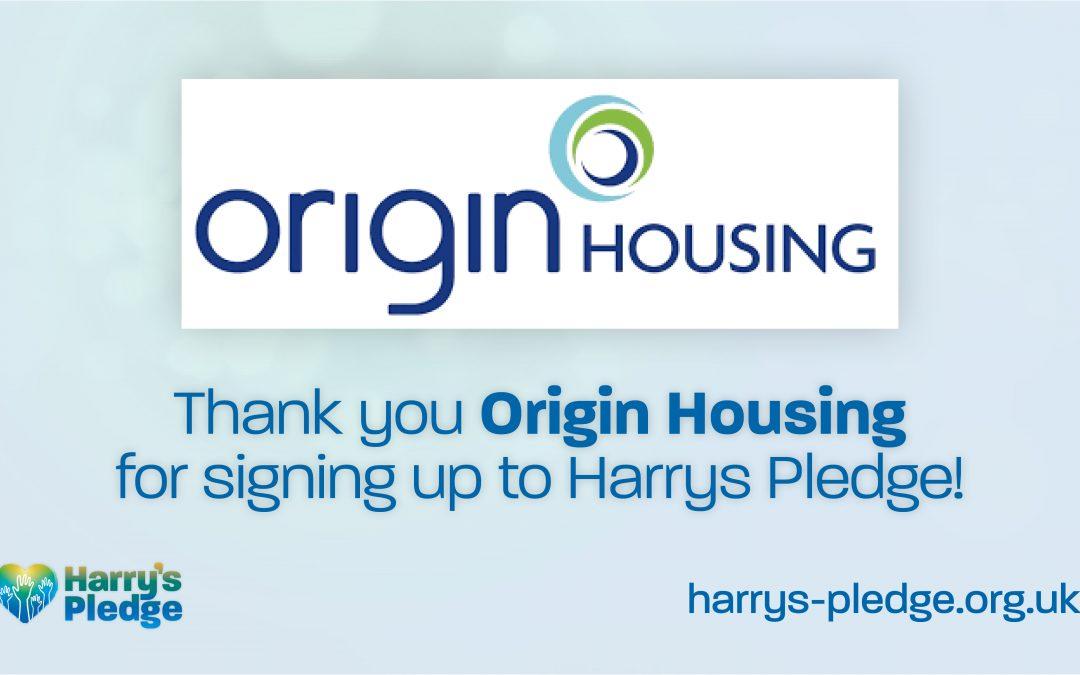 Origin Housing sign up to Harry's Pledge