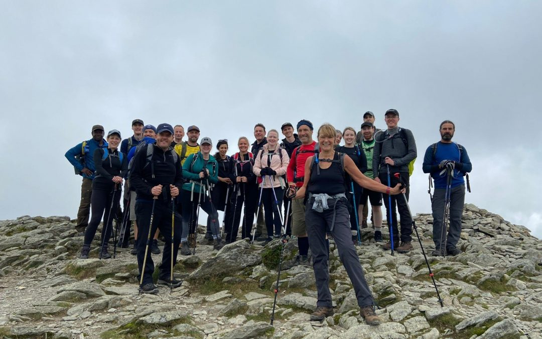 Group of walkers on top of a mountain